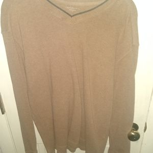Covington Sueded V-Neck Brown Pullover Sweater -L